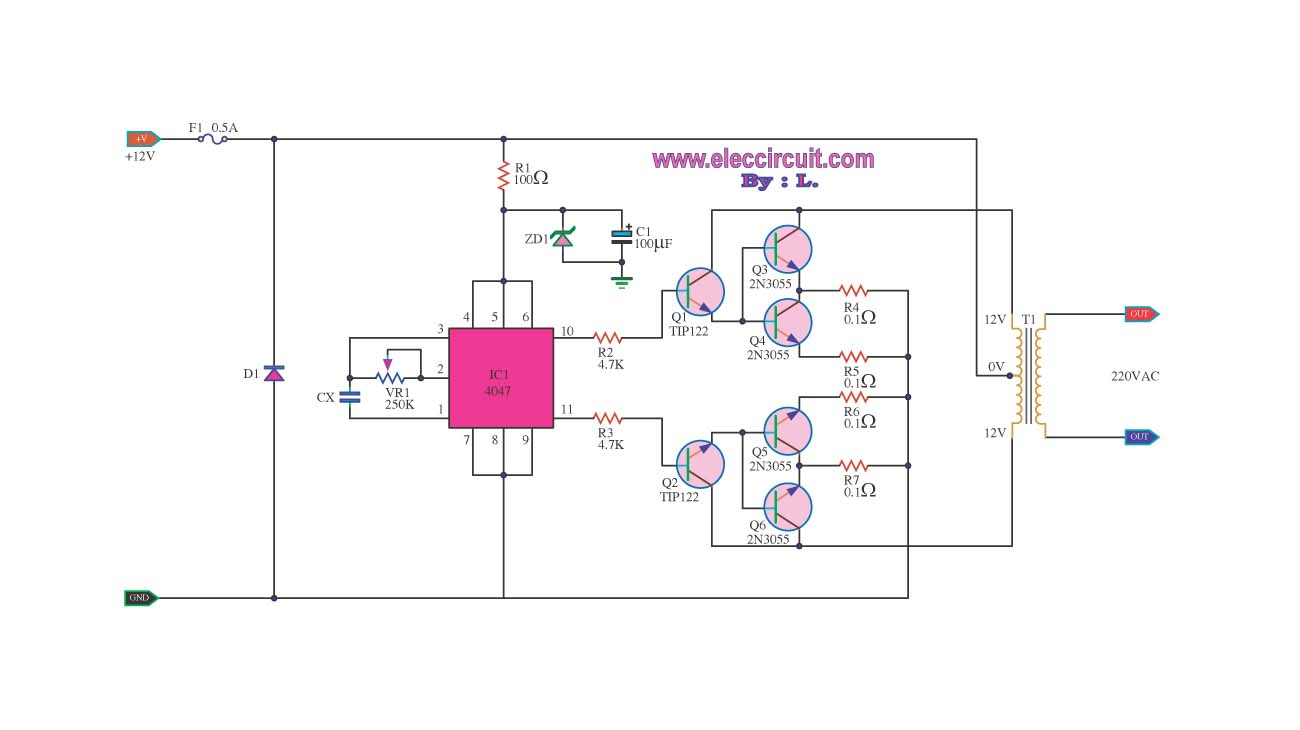 Fast click repair shop 100w dc inverter circuit 12vdc to for Transistor inverseur