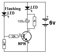 One Transistor LED Flasher Circuit circuit diagram