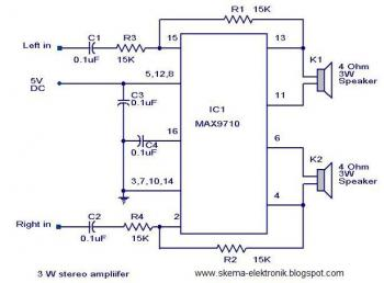 3W Stereo Audio Amplifier circuit diagram