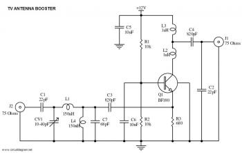UHF TV Antenna Booster circuit diagram