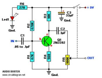 One Transistor Audio Booster circuit circuit diagram