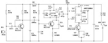Three Stage 9V FM Transmitter circuit diagram