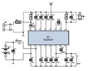 Simple FM Radio Receiver  with TDA7021T circuit diagram