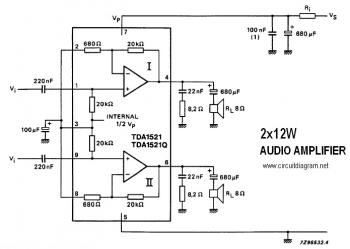 TDA1521 - 12W Stereo Amplifier Circuit diagram