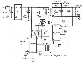 Offline Switching Power Supply Circuit  (5V - 10A - 50W)