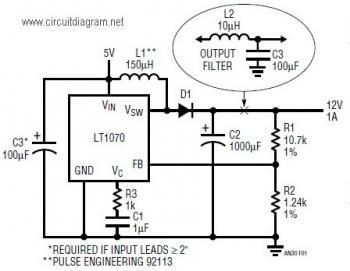 LT1070 Boost Converter, 5VDC to 12VDC