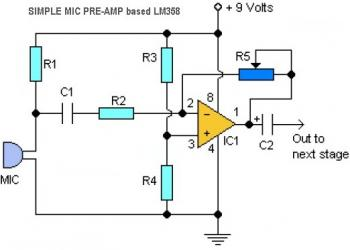 Simple LM358 Mic Preamplifier