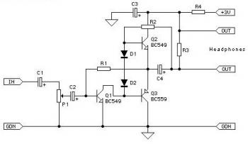 Class-AB Headphone Amplifier circuit diagram