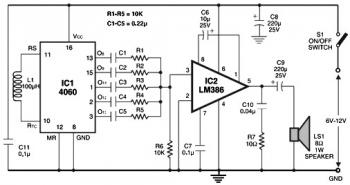 Sound Generator: Multitone alarm circuit diagram