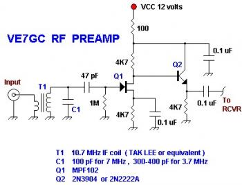 VE7GC Popcorn RF Preamplifier circuit diagram