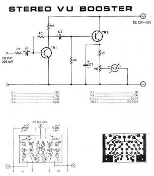 Stereo VU Booster | Electronic Schematic Diagram on generator schematic, compressor schematic, ph meter schematic, oscilloscope schematic, tone control schematic, transistor tester schematic, mixer schematic, multimeter schematic, voltmeter schematic, sensor schematic, lc meter schematic, capacitance meter schematic, amplifier schematic, analog meter schematic, lcd schematic, distortion schematic, lm3915 schematic, variac schematic, led schematic, current transformer schematic,