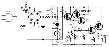 Emergency Light and Alarm circuit diagram