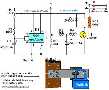 Touch Activated Alarm circuit diagram
