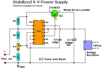 9V Stabilized Powersupply Circuit with LM723