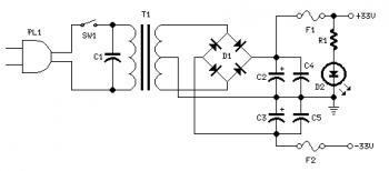Dual Polarity Power Supply +33V, 0 , -33V  circuit diagram