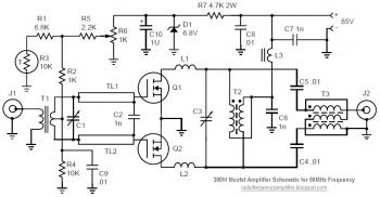 50MHz 300W MOSFET Amplifier Circuit diagram
