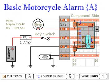 Basic Motorcycle Alarm pcb design