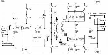 100W Guitar Power Amplifier circuit