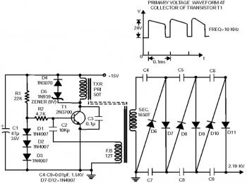 2000V High Voltage Low Current Power Supply circuit diagram