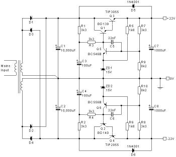 Split Power Supply Circuit 22V DC