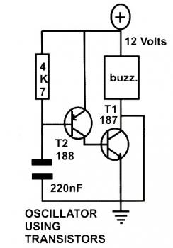 Basic Oscillator Circuit using Two Transistors
