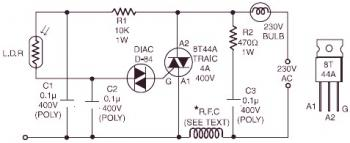 220V Light-Operated On/Off Switch circuit diagram