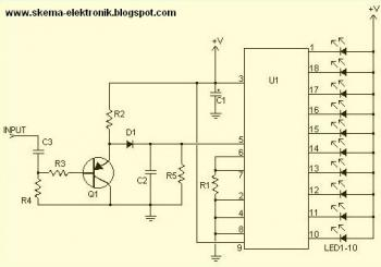 10 LED Sound Level Meter circuit diagram