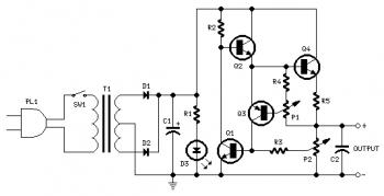 Variable DC Power Supply with 2N3055 circuit diagram