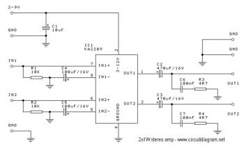 2x1W Stereo Amplifier with IC KA2209 circuit diagram