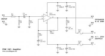 25W Amplifier based LM1875 circuit diagram