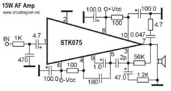 15W AF Amplifier with STK075 circuit diagram