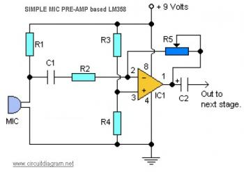 Mini Mic Pre-Amplifier Circuit based IC LM358