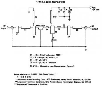 1 Watt 2.3GHz RF Amplifier Circuit diagram
