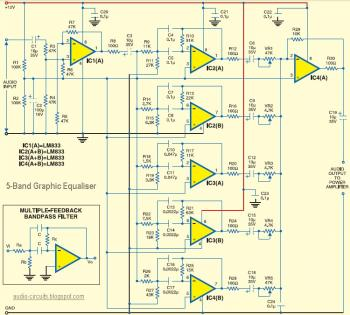 5-Band Equaliser Circuit diagram