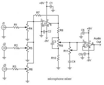 Mic Audio Mixer Circuit diagram