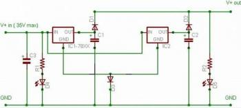 Current Output Doubler after 78xx Regulator circuit diagram
