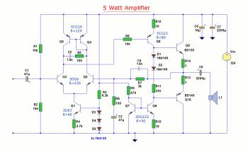 5W Audio Amplifier Circuit based BD139/BD140