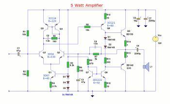 5W Audio Amplifier Circuit based BD139/BD140