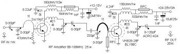 25W RF Amplifier Circuit 88-108Mhz