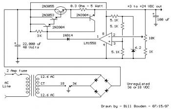 Variable Power Supply Circuit 3-24V / 2A  circuit diagram