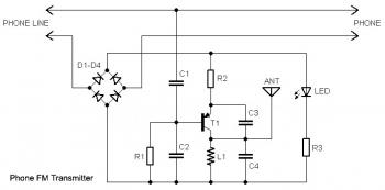 Home Telephone FM Transmitter circuit diagram