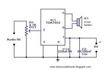 2W Mono Audio Amplifier circuit diagram
