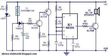 Simple fire alarm circuit  using IC timer NE555