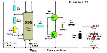 Inverter 12V DC to 120-230V DC with IC 555 circuit diagram