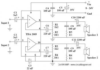 2x10W Audio Amplifier with TDA2009A circuit diagram