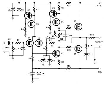 25W Power Amplifier with MOSFET IRF530/IRF9530 circuit diagram