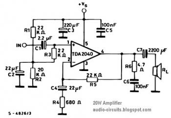 20W Power Amplifier Circuit based TDA2040