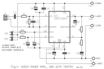 60W Class AB Audio Amplifier circuit with TDA7294