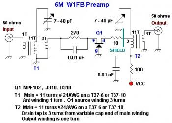 6M RF Preamp using MPF102 circuit diagram
