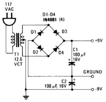 Simple Split Power Supply 9V circuit diagram
